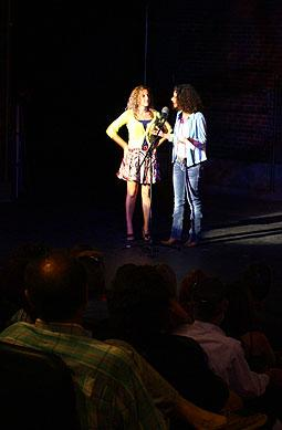 Esther Martinez, left, and Andrea Askowitz of Lip Service welcome the audience.