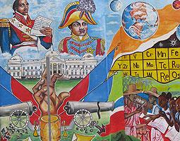Muralist Serge Toussaint painted this scene at Northeast 79th Street and Second Avenue in Little Haiti to commemorate the 2010 earthquake.