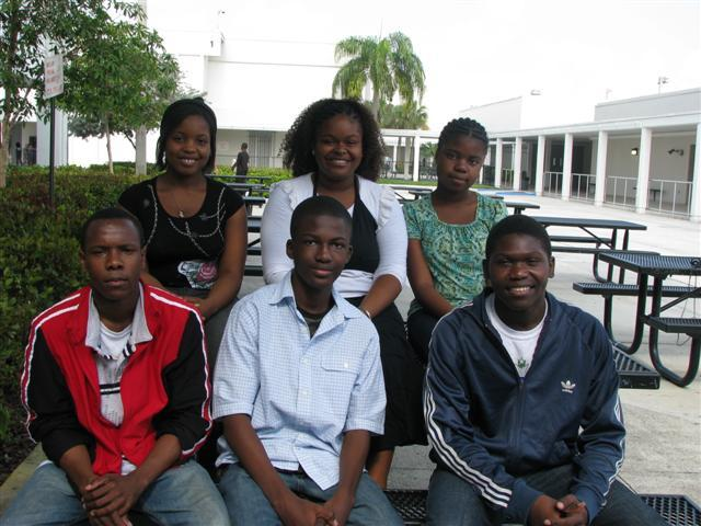 Some of the students from the ambassadors program: Kimbleda, Berdly, Jose, Michel, James and Nostra.