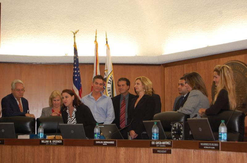 The team gets the awards from the Hialeah City Council