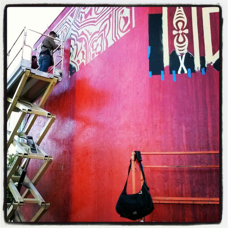 Shepard Fairey wall under construction