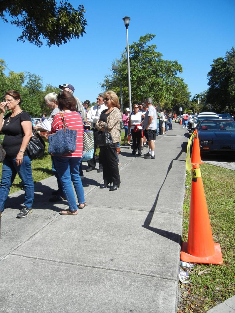 The tail end of the line shows that these Kendall Branch voters have a long way to go