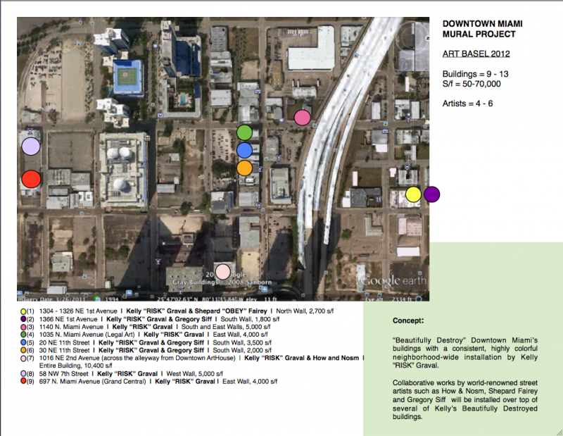 Map of the mural project. The location of the project underscores the buzz about downtown Miami's recent and coming evolution.
