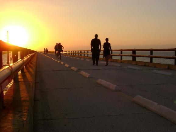 People from Marathon and around the world go to the Old Seven Mile Bridge to exercise or enjoy the sunset.