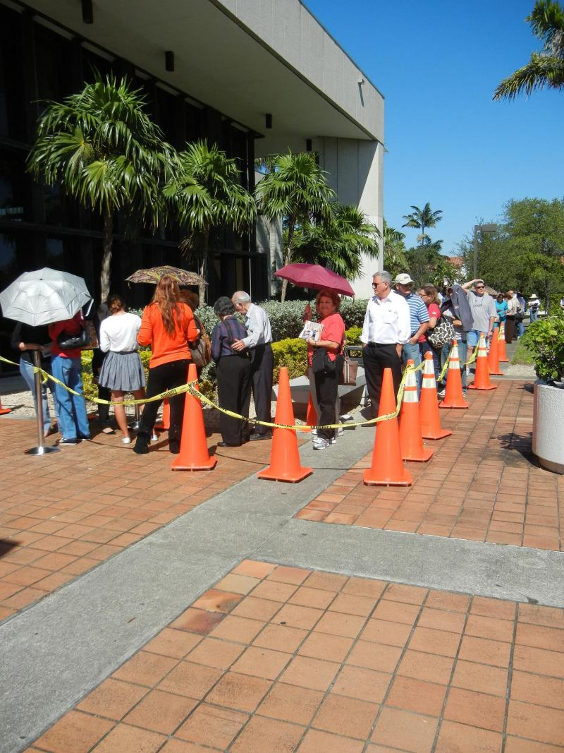 The line at West Dade Regional Library seems to be no different in wait time
