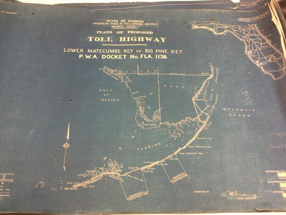 100-year-old design plans for the original Seven Mile Bridge.