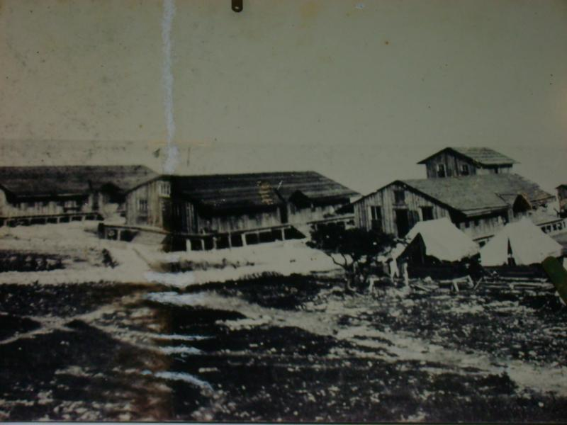 This is an old photo of the island when it was a work camp.
