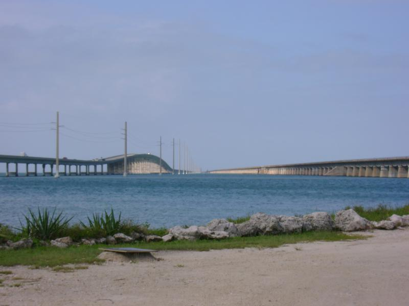 On the right is the Old Seven Mile Bridge which is now closed to cars. On the left is the new Seven Mile Bridge.