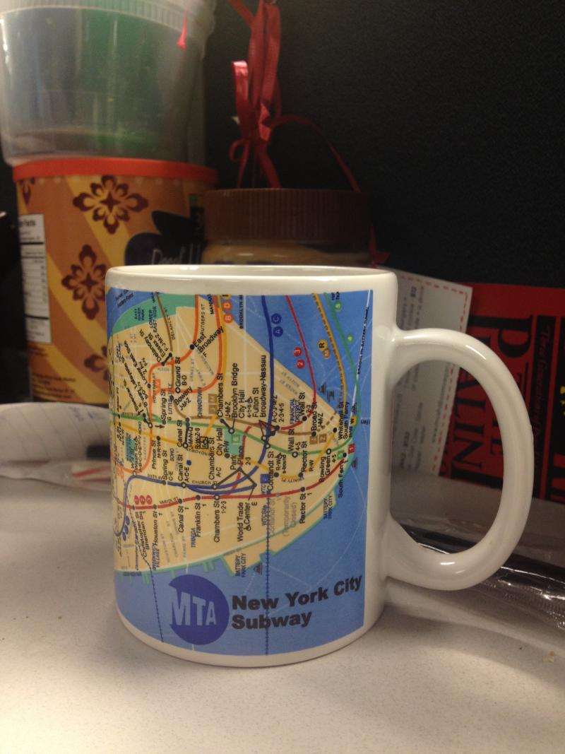 Senior Editor for Enterprise Alicia Zuckerman, a New Yorker and dedicated public transit user with the New York City Subway map on her coffee mug. The bag of tea in there has been soaking for hours, untouched. That's how busy she is.