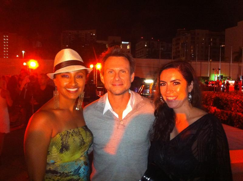 HER PERSONAL A LIST: Florencia, right, got to meet actor Christian Slater. Scherezade King, left,  enjoys the moment.