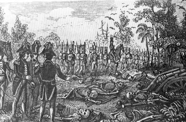 Image of the 'Dade Massacre,' which accelerated the Second Seminole War. There are five different Dade Counties in the US, and a Dade City in Florida.