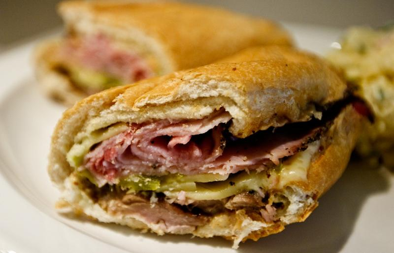 A picture of a Cuban Sandwich. This looks seriously delicious. The question is: Where was it made, Miami or Tampa?