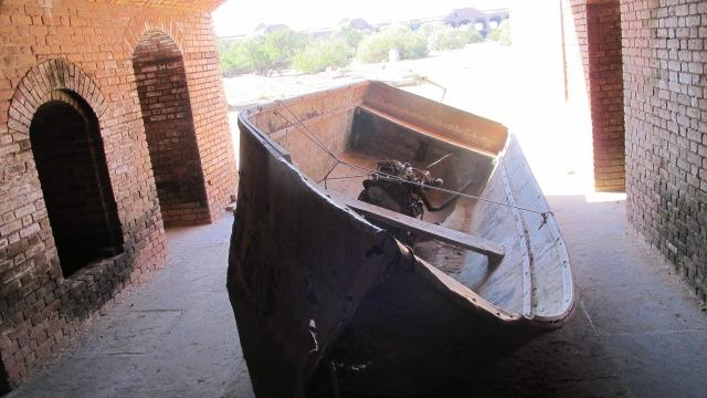 A boat used by a Cuban refugee.