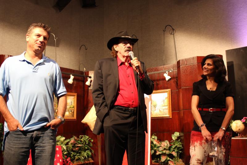 Felipe Marrou, Charlie Carlson, WLRN Producer Mia Laurenzo