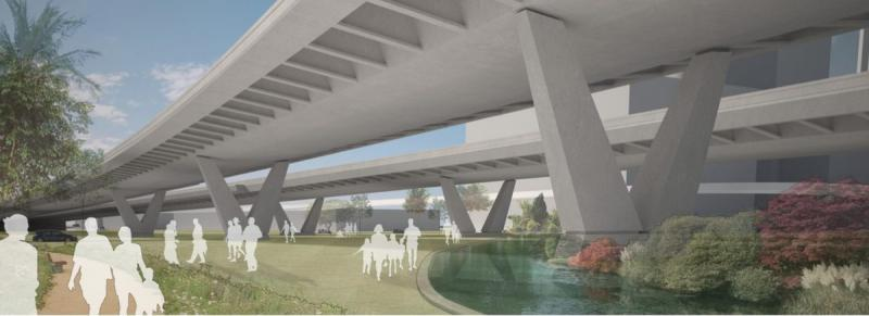 Below I-395, a greenway could connect neighborhoods.