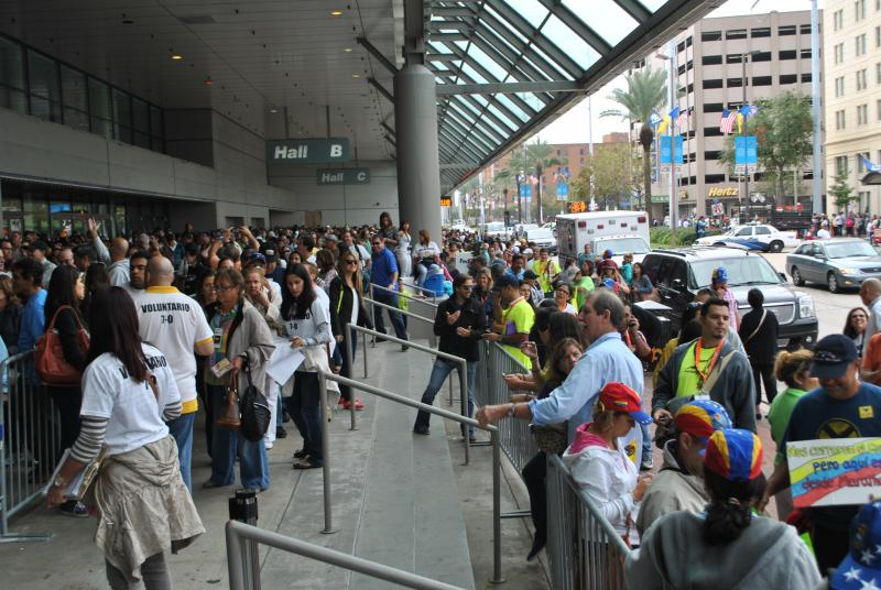 An shot of the turnout for the 2012 Venezuelan election at the New Orleans consulate.  Thousands of South Floridians flocked to the city to cast their votes.