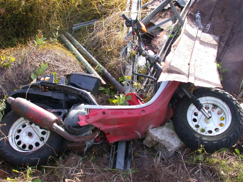 A scooter pulled from a natural area in January 2013.