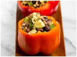 Stuffed Peppers with Squash Black Beans and Rice, Antioxidant-rich peppers and black beans.