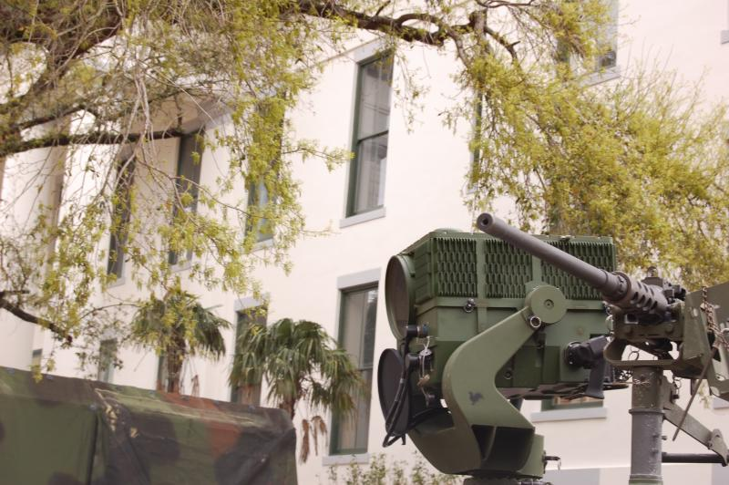 The Humvee's machine gun and long range surveillance system allow the operator to see 24 kilometers and pinpoint an object within inches.