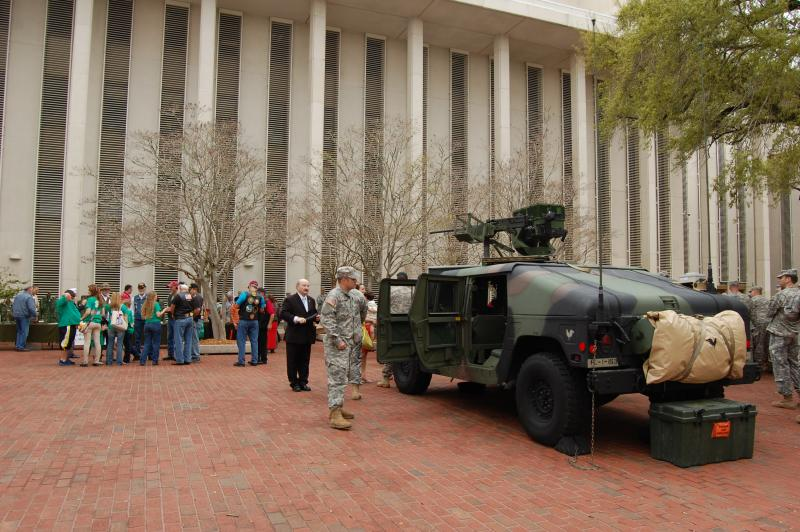 Military truck sits in the Capitol courtyard.