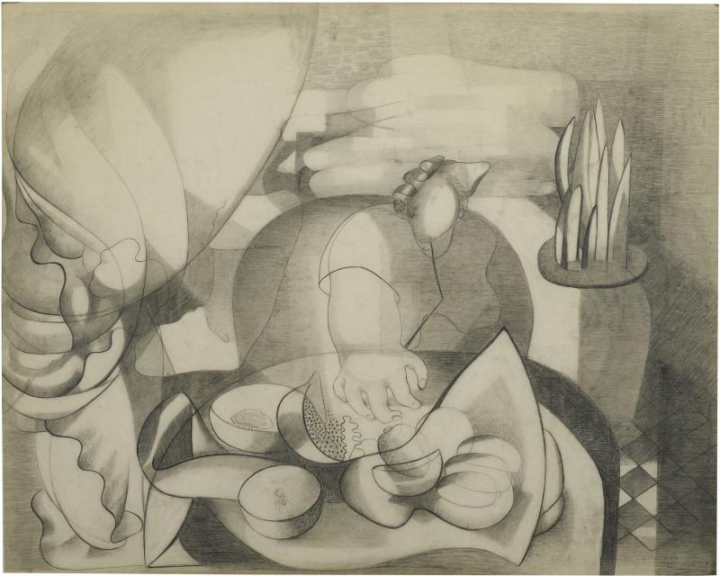 "Amelia Peláez, ""Autorretrato"" (Self-Portrait), 1935, Graphite on paper on board, Collection Pérez Art Museum Miami, partial and promised gift of Jorge M. Pérez, Courtesy of the Amelia Peláez Foundation"
