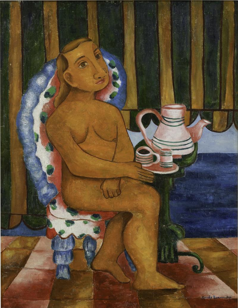 "Cundo Bermúdez, ""Mujer tomando café"" (Woman Drinking Coffee), ca. 1940s, Collection Pérez Art Museum Miami, partial and promised gift of Jorge M. Pérez © Estate of Cundo Bermúdez / Courtesy of Conrado Basulto"