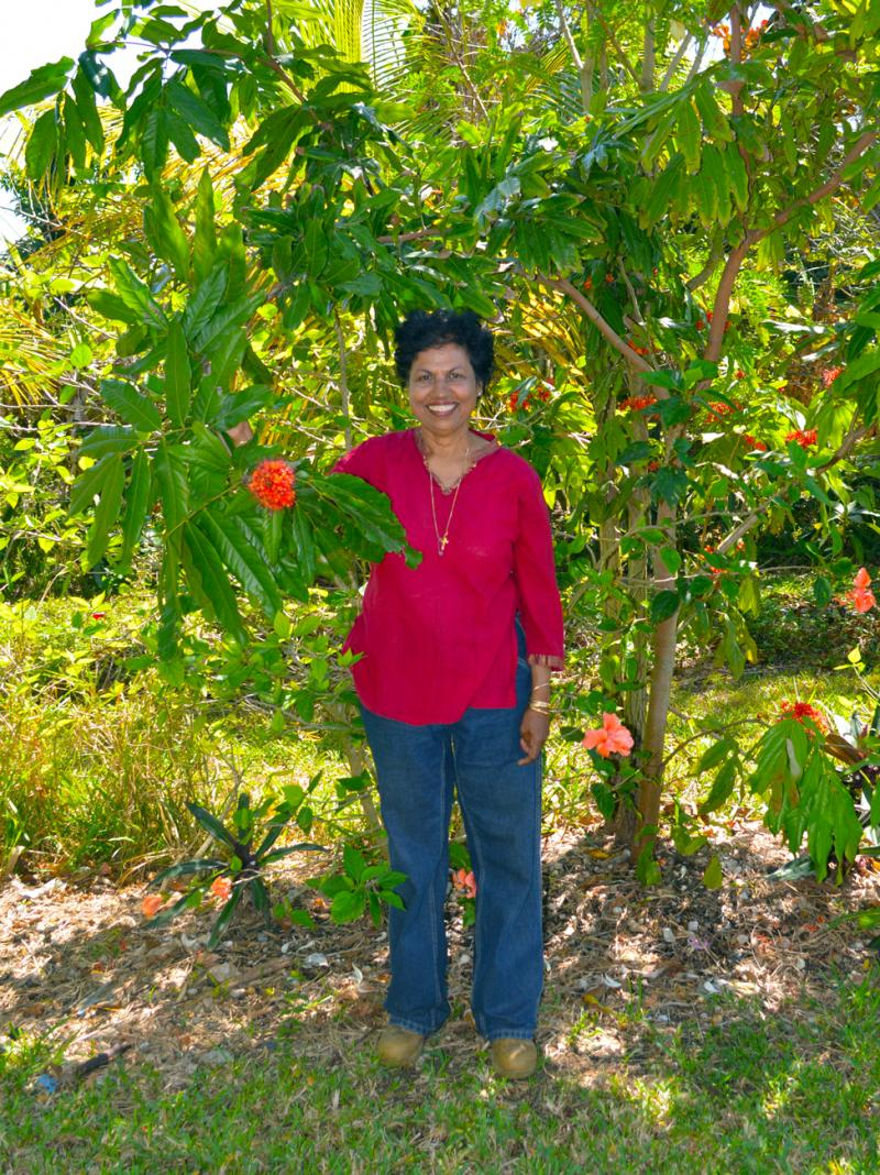 Laura Mani, a native of India, has tried to turn her garden in the Redlands into her own reminder of her home country.