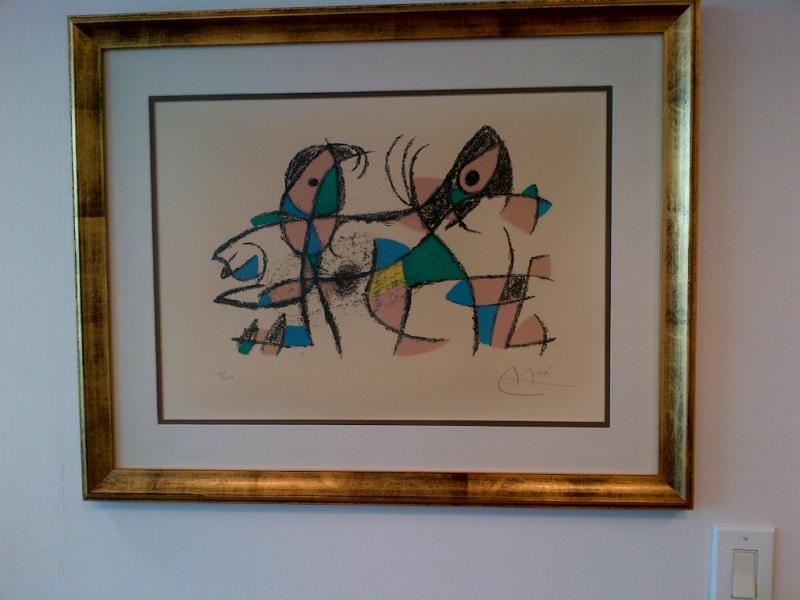 How it all began: The $100 Joan Miro lithograph that launched Perez's collection in the late 1960's.  It still hangs in his office.