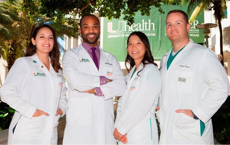UM medical students Chanelle Diaz, Hansel Tookes, Dyani Loo and Marek Hirsch want to see a needle-exchange program in Florida.