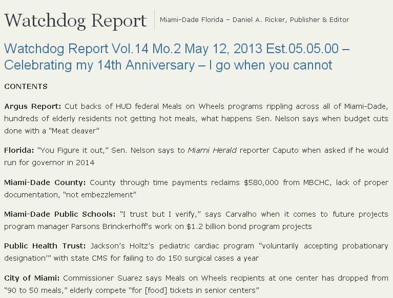 Screen shot of the watchdogreport.net