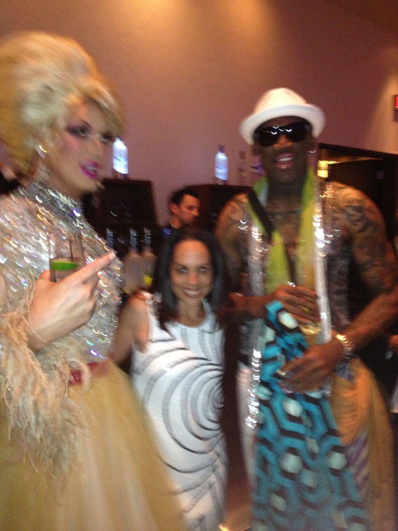 (l-r) Drag Queen Elaine Lancaster, Lesley Abravanel, and Dennis Rodman.