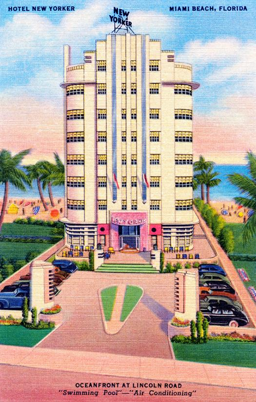 "Postcard, circa 1930.  The Hotel New Yorker boasts a ""Swimming Pool""   and ""Air Conditioning"""