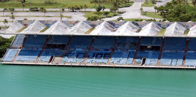 An aerial view of the historic, but neglected Miami Marine Stadium