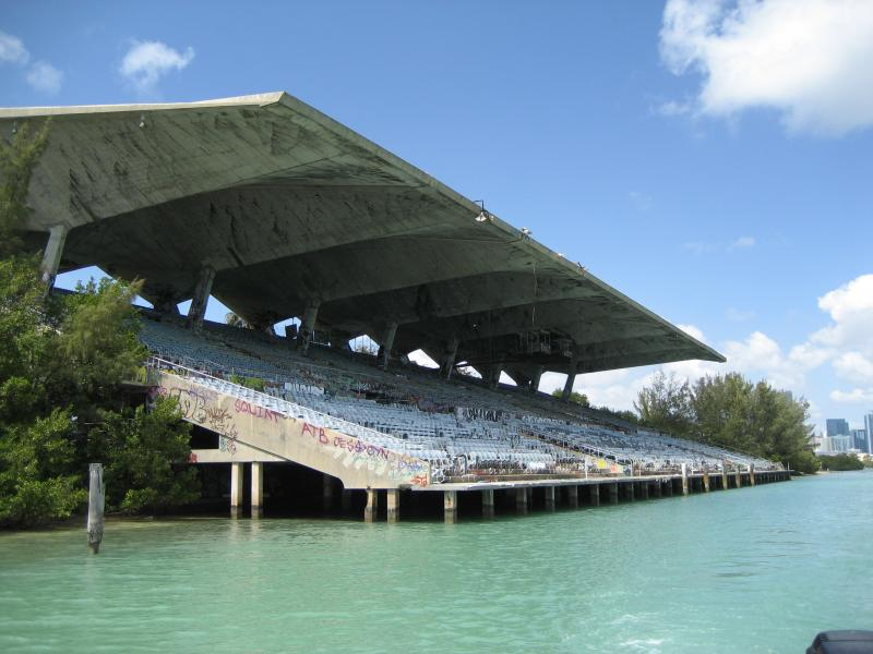 View of the stadium from a boat in the basin
