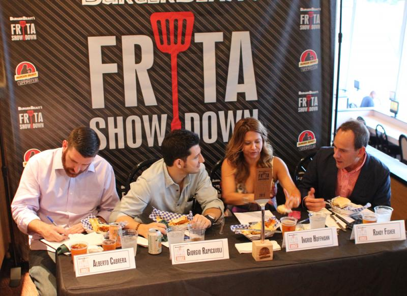 The judges were (from left to right) chefs Alberto Cabrera and Giorgio Rapicavoli, food TV personality Ingrid Hoffman and food events expert Randy Fisher. Before them is the grand prize: an engraved spatula trophy.