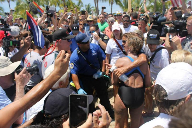 Friends and fans surround Nyad, after her 111-mile record-breaking swim from Havana to Key West.