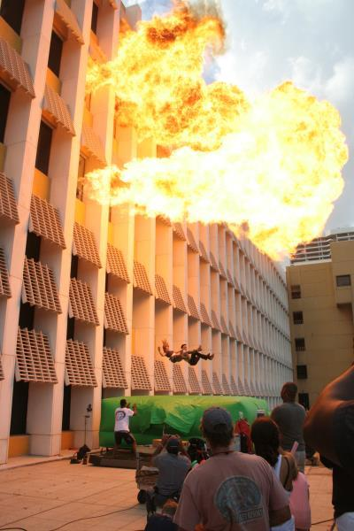 The final episode of Burn Notice being shot behind the former Miami Herald Building.