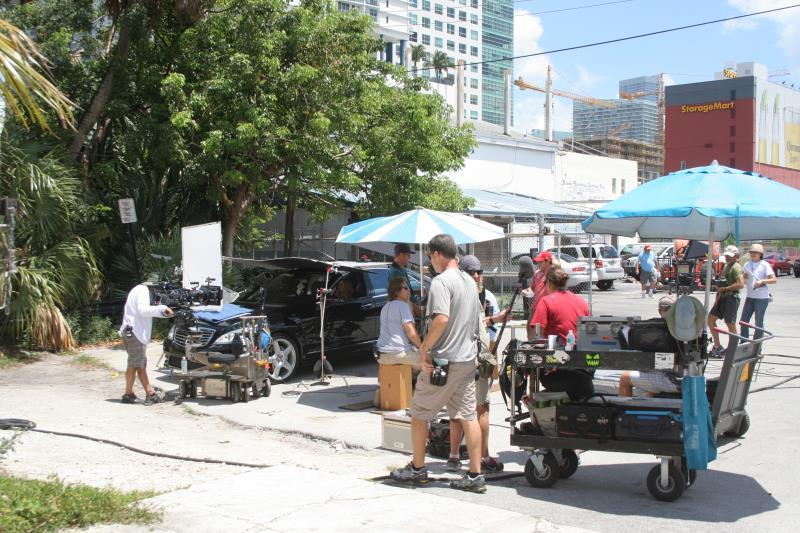 Burn Notice on location by the Miami River.