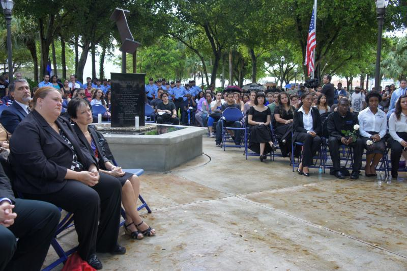 Despite the rain, the dedication service was standing-room only.