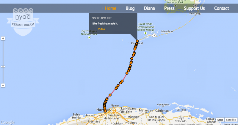 She freaking made it! That's how they put it on Nyad's blog, where her journey had been tracked in real time since she jumped in the water in Havana on Saturday.