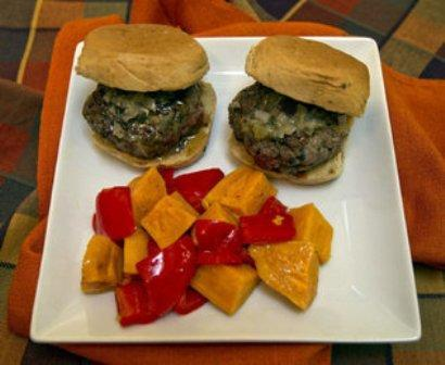 Autumn Burger Sliders with Red Pepper and Sweet Potatoes