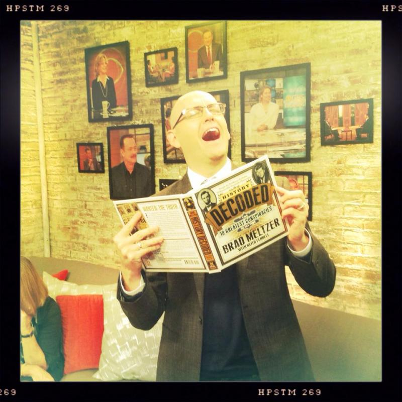 Brad Meltzer in the green room about to go on at CBS This Morning.