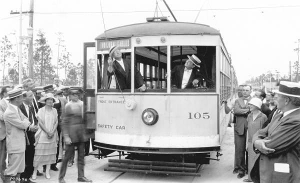 A streetcar in Coral Gables in April, 1925