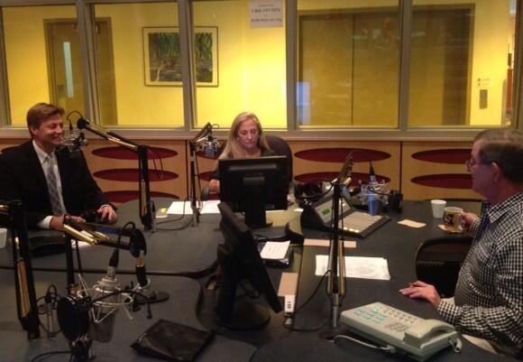 Jason Altmire in the WLRN studio with Bonnie Berman (center) and Joseph Cooper
