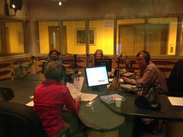 Ingrid Hoffman in the WLRN studio with Bonnie Berman, Joseph Cooper and Linda Gassenheimer (back to camera).