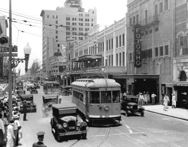 A trolley on Flaggler Street in June, 1927