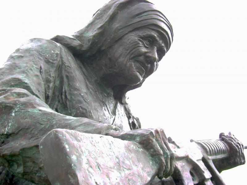 This large bronze statue of Mother Teresa is one of nine works in Bayfront Park for Art Basel. The exhibit titled WAR to WAR features historical figures, known for their humanitarian, work holding guns.