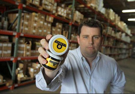 Marky's Group President Christopher Hlubb with some caviar in the warehouse at the company headquarters