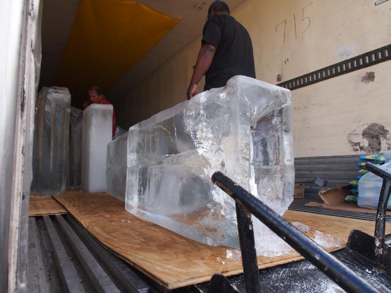 For Snow Day, a truck arrives filled with ice blocks made at a factory in Georgia.