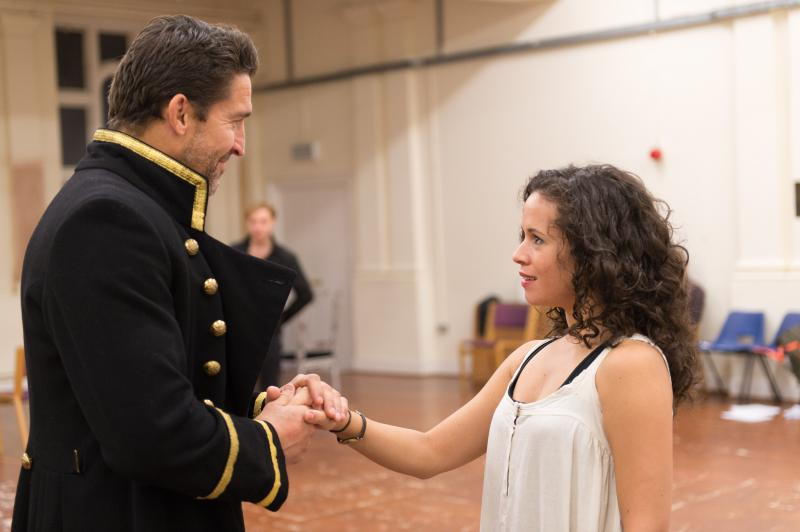 'Antony and Cleopatra' cast members Jonathan Cake and Charise Castro Smith in rehearsal in London